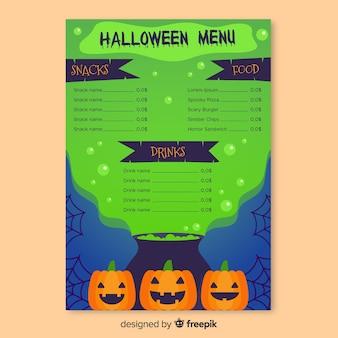 Modello di menu halloween melma verde tossico