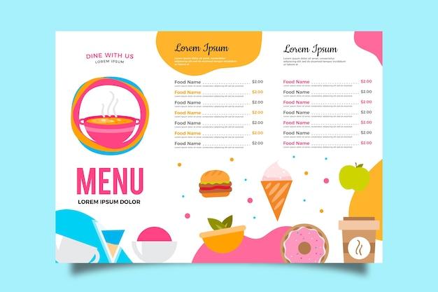 Modello di menu in design colorato