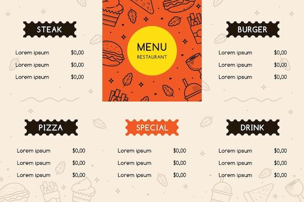 Modello di menu in formato orizzontale per piattaforma digitale con elementi illustrati
