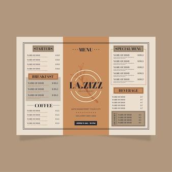 Modello di menu in formato orizzontale per piattaforma digitale
