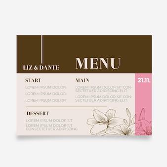 Modello di menu orizzontale di matrimonio floreale