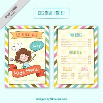 Modello di menu per bambini con colores strisce