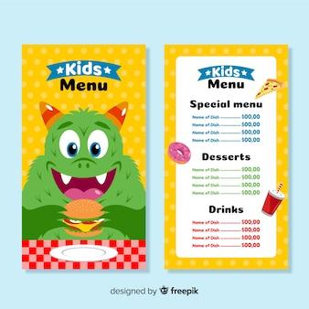 Modello di menu per bambini del ristorante
