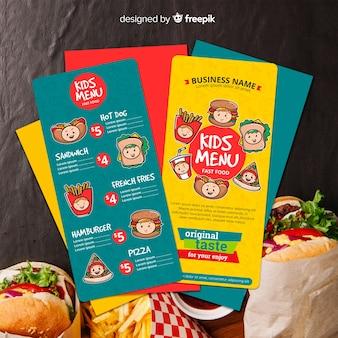 Modello di menu per bambini