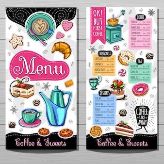 Modello di menu per caffetteria
