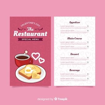 Modello di menu per la colazione di san valentino