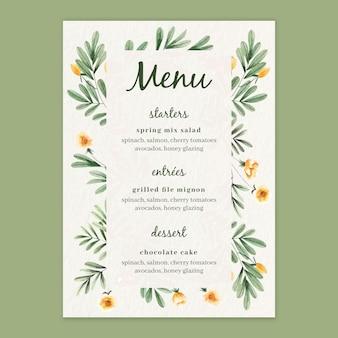 Modello di menu per matrimonio con fiori ad acquerelli