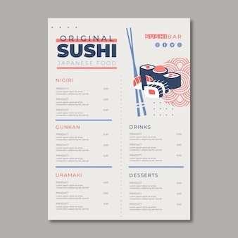Modello di menu per ristorante di sushi
