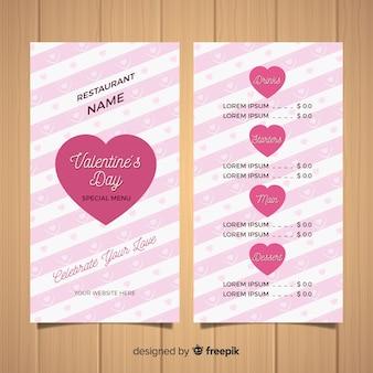 Modello di menu per san valentino a strisce