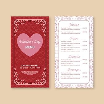 Modello di menu piatto colorato di san valentino