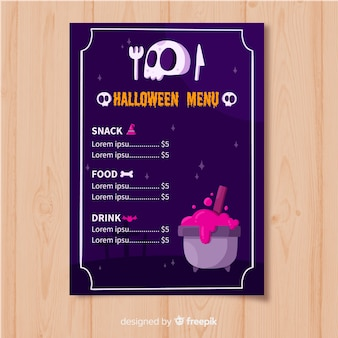 Modello di menu piatto di halloween con teschio e melting pot