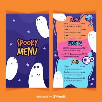 Modello di menu piatto di halloween