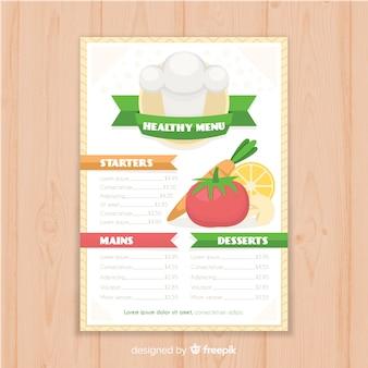 Modello di menu piatto sano
