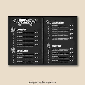 Modello di menu posto hamburger in stile lavagna