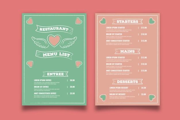 Modello di menu retrò di san valentino
