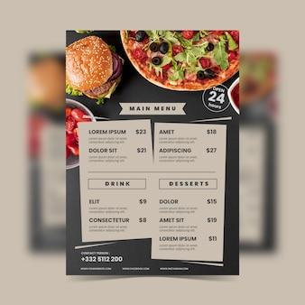 Modello di menu ristorante cibo sano vintage