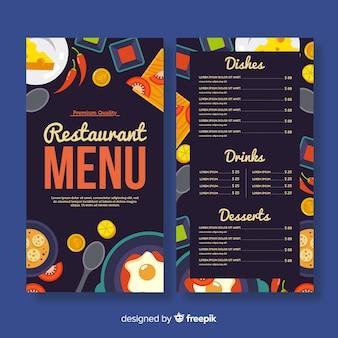 Modello di menu ristorante colorato