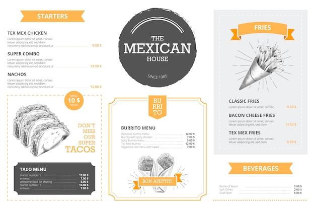 Modello di menu ristorante con cibo disegnato a mano
