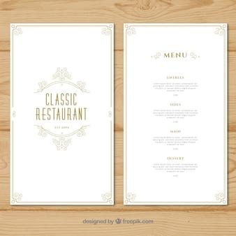 Modello di menu ristorante con design piatto