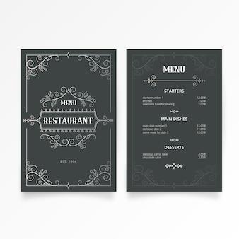 Modello di menu ristorante con eleganti ornamenti