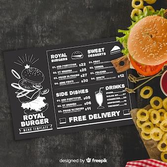 Modello di menu ristorante con foto