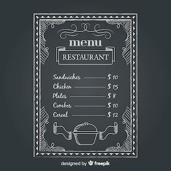 Modello di menu ristorante con stile lavagna