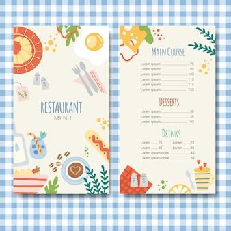 Modello di menu ristorante design piatto