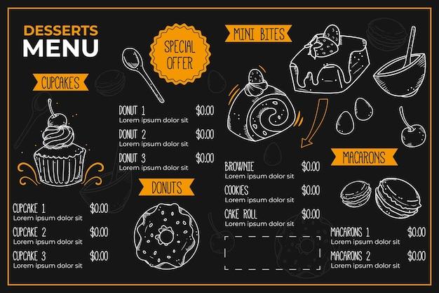 Modello di menu ristorante digitale creativo illustrato