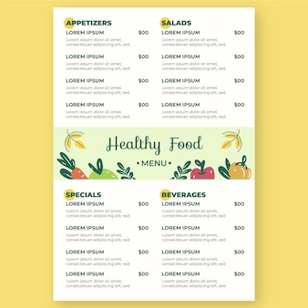 Modello di menu ristorante digitale verticale illustrato