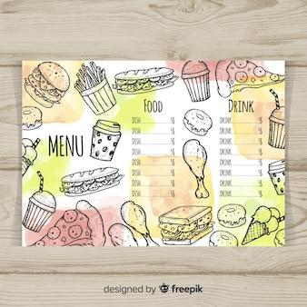 Modello di menu ristorante disegnato a mano colorata