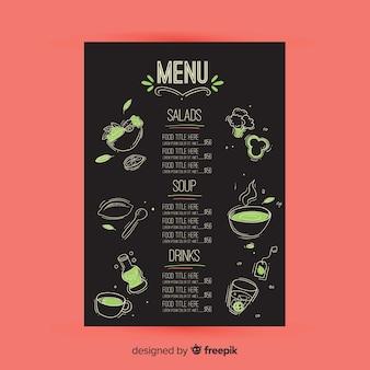 Modello di menu ristorante disegnato a mano