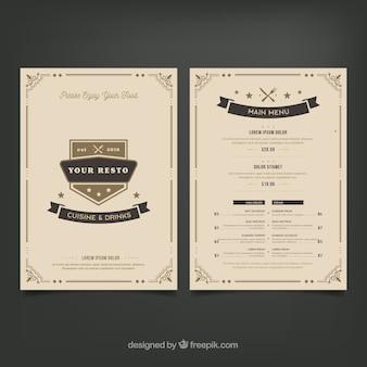 Modello di menu ristorante elegante con ornamenti d'epoca