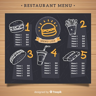 Modello di menu ristorante elegante con stile lavagna