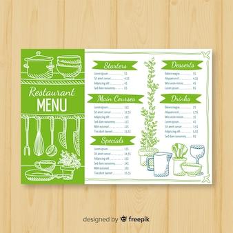 Modello di menu ristorante elegante disegnato a mano