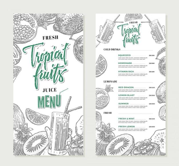 Modello di menu ristorante fresco
