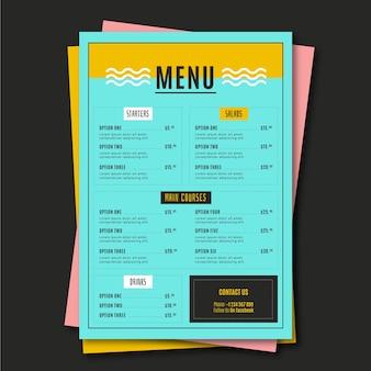 Modello di menu ristorante minimalista alimentare
