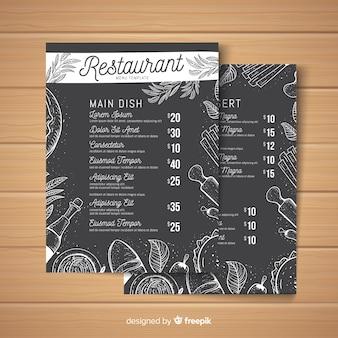 Modello di menu ristorante moderno disegnato a mano
