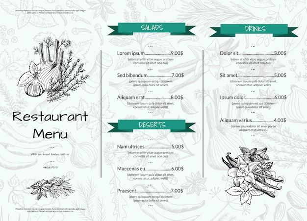 Modello di menu ristorante o bar orizzontale con erbe e spezie disegnati a mano