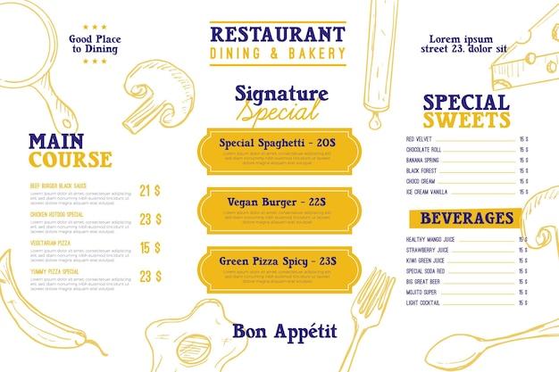 Modello di menu ristorante orizzontale