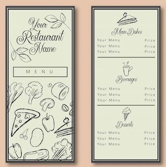 Modello di menu ristorante potrait
