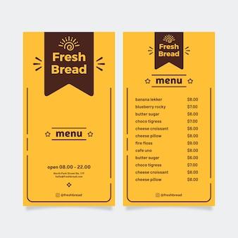 Modello di menu ristorante semplice