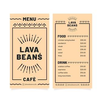 Modello di menu ristorante semplicistico