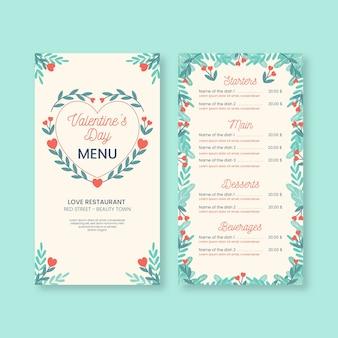Modello di menu romantico di san valentino