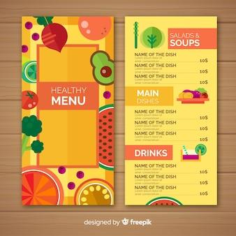 Modello di menu sano colorato piatto