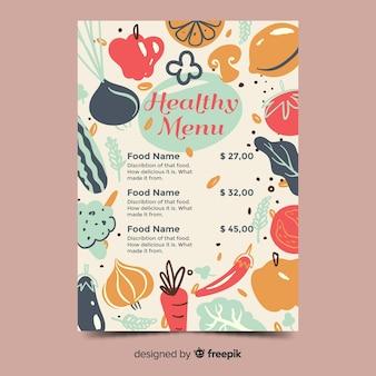Modello di menu sano di verdure disegnate a mano