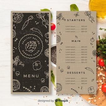 Modello di menu sano incolore