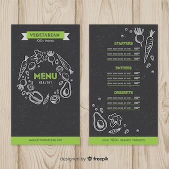 Modello di menu sano lavagna