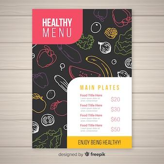 Modello di menu sano scuro disegnato a mano