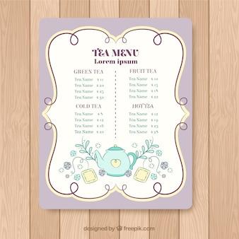 Modello di menu tè disegnato a mano