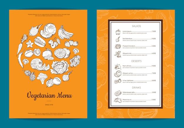 Modello di menu vegan di frutta e verdura handdrawn di vettore
